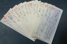 REDUCED - 13 Original Old Smith's Bank of Nottingham Cheques, 1890 - 92