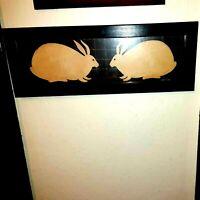 Warren Kimble Primitive Two Bunnies Rabbit Folk Art Americana Framed Cottage VTG