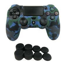 Silicone Blue Camo Grip Soft Shell + (8) Multi Thumb Caps For PS4 Controller