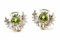Sterling Silver Peridot Scottish Thistle Stud earrings Made in UK Gift Boxed