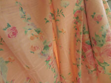Vintage Pink Roses Trellis Fabric 1Y 20in X 62W Curtain Weight Pretty!   Z25