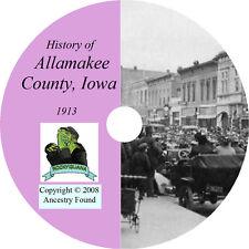 1913 ALLAMAKEE County Iowa IA, History & Genealogy - Waukon Lansing - CD DVD