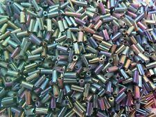 LOT DE 500 PERLES DE ROCAILLE TUBE VERT VIOLET BLEU 5 mm - CREATION BIJOUX