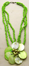 """Vintage 16"""" 13mm Multi Row Beaded Necklace w/Green Shell Flower Silver Tone"""