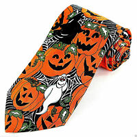 Cobweb Pumpkins Men's Neck Tie Halloween Pumpkin Ghosts Holiday Black Necktie