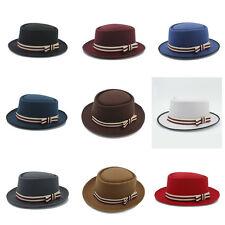 Men Women Pork Pie Sailor Boater Hat Cap Hard Felt Flat Oval Top Striped Band L