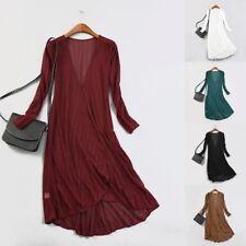 Women's Mesh See Through Striped Cardigan Ladies Long Sleeve Jacket Top Gown