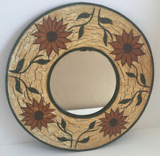 Vintage Round Wall Mirror Hand Painted Floral Wood