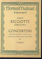 CARLO RICCOTTI ~ Concertini No. 4 für 4 Violinen, Cello und Basso continuo