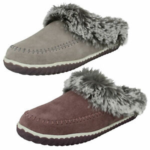 LADIES CLARKS HOME2 SOFT SUEDE SLIP ON COSY INDOOR MULE SLIPPERS SHOES SIZE