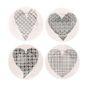 ILARIA.I ABC LOVE Set of 4 Porcelain Plates Heart Print Pattern Made in Italy