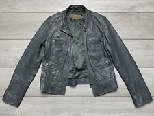 Women's MINT VELVET Soft Real Leather Distressed Biker Jacket Size 10 | Grey