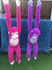 Large Hanging Monkeys - Smyths Soft Toys Pink & Purple Hands & Feet Clasp 🐒