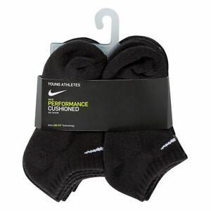 Nike Young Athletes Kids 7C-10C Performance Dri-Fit Ankle Socks Black 6 Pairs