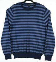 J. Crew Mens Size Large Blue Black Striped Long Sleeve Cashmere Cotton Sweater