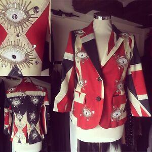 LIBERTINE Union Jack Embellished Blazer Jacket