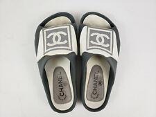 Chanel Gray White Rubber Logo Slide On Sandals Flats Sz 35