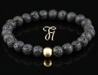 Lava 925er sterling Silber vergoldet Armband Bracelet Perlenarmband schwarz 8mm