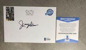 Jerry Sloan Signed 4x6 Index Card Cut Beckett BAS COA Utah Jazz HOF Auto
