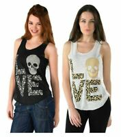 Women Celebrity Love Skull Print Vest Top Ladies Sleeveless T Shirt Fancy Dress