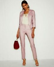 NEW EXPRESS $208 LILAC LINEN BLEND CUTAWAY BLAZER COLUMNIST PANT 2PC SUIT SZ 8