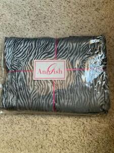 $850 NWT Ann Gish Tigress Steel Grey SILK QUEEN Gathered Bedskirt Animal Print
