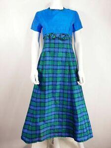 Vtg Dress Blue & Green Check Tartan Full Long Bow & Short Sleeve - Made By Joyce