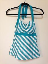 Tankini Top Size Medium - Shade Clothing - Teal And White Striped