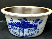 Vintage Salmon Falls Stoneware Glaze Cobalt Blue Blueberries Basket Crock Bowl