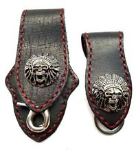 Biker Skull Trucker red Stitch black Leather Belt Clip Key chain Holder Set