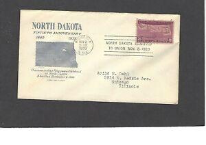 #858 3c STATEHOOD  ISSUE FDC-BISMARCK,N.DAK NOV 2-1939 GRIMSLAND CACHET