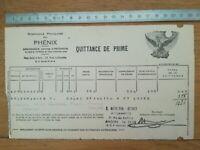 Quitance de prime assurances Phénix Beaulieu sur Layon Angers 1950