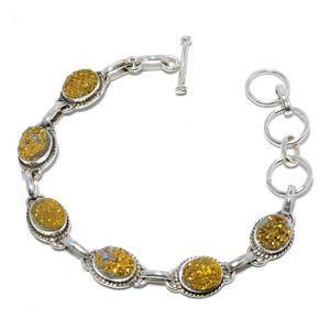 "Golden Agate Drusy Gemstone 925 Sterling Silver Tennis Bracelet 7.99"" T271"