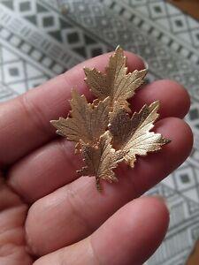 Vintage Gold Tone Maple Leaf Brooch Pin Mid Autumn leaves cluster MCM Revival
