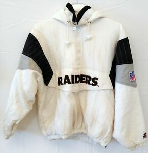 Vintage NFL Raiders White Coat Size MD