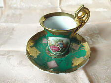 Antique Vienna BEEHIVE MARK porcelain tea coffee cup and saucer hand painted