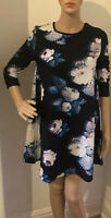 River Island Womens Dress Mini A-line Floral Print Black Mix Uk Size 8 BNWT