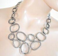 COLLANA nera elegante girocollo donna multi-cerchi collier necklace collar H30