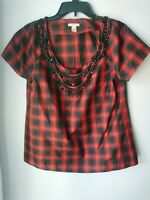 J.Crew | Eliza red plaid bib necklace shirt sleeve top 8 womens