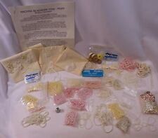 Vtg Bead Jewelry Makers Lot Pink White Cream Assorted Size Round Beads Pearls