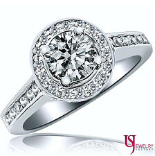 2 CARAT F-VS2 ROUND CUT HALO SET DIAMOND ENGAGEMENT RING 18K WHITE GOLD