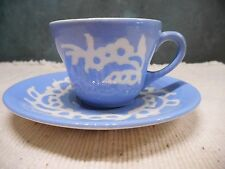 VINTAGE CAMEO-WARE WHITE ROSE BLUE HARKER POTTERY CO DEMI CUP & SAUCER, USA