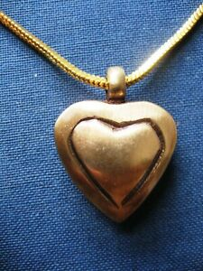 "Handmade ""Your Heart In My Heart"" Brass Cremation Keepsake Pendant Urn Necklace"