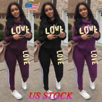 Women 2PCS Tracksuits Striped Sport Lounge Wear Ladies Tops Suit Love Jumpsuit