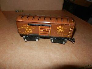 MARX #46010 SSW Box Car, Brown/Yellow, 6 inch, 8 Wheel, Original