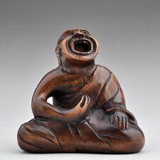 """1940's Japanese handmade Boxwood Netsuke """"Buddha"""" Figurine Carving"""