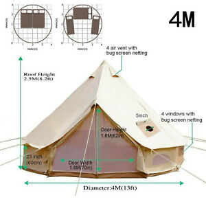 Beige Cotton Canvas Indian Camping Teepee Tent 4M Canvas Bell Tent for Family