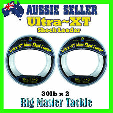 2x Shock Leader 100m Spools Ultra XT Fishing Line Monofilament 30lb Rig Master