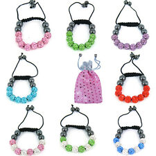 Kids Shamballa Crystal Bracelet Bling Disco Small Baby Ball Friendship Gift