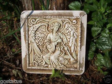 "Plaster concrete  distressed angel plaque with horn plastic mold 8"" x 8"" x 1"""